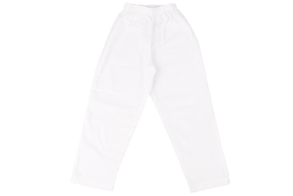Elasticated Plain Pants - White  poly cotton