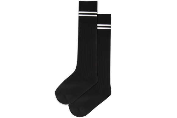 Boys 3/4 Striped Long Socks - Clifton Black/White