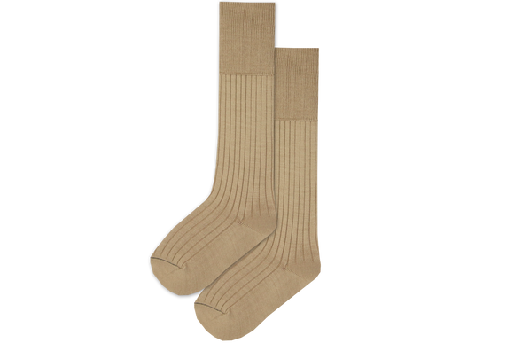 Boys 3/4 Plain Long Socks - Sand