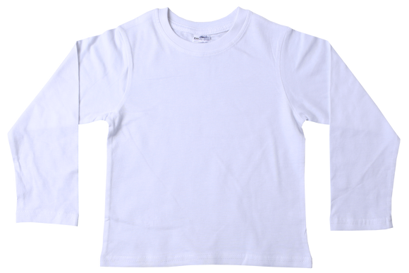 T-Shirt Plain - White Long Sleeve
