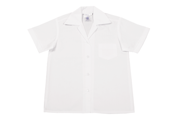 Shortsleeve Gladneck Blouse - White (no top button)