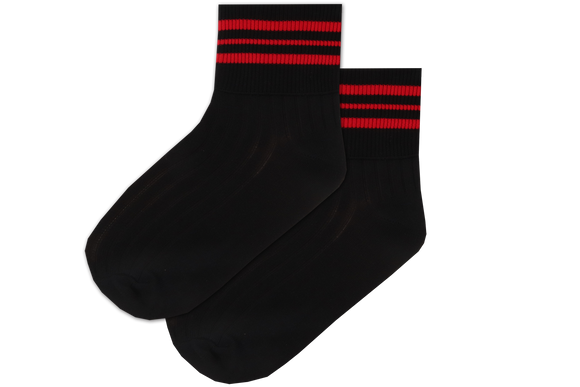 Girls Striped Anklets - Convent Black/Red
