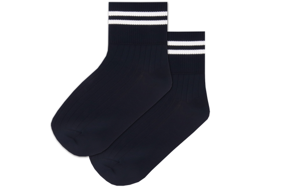 Girls Striped Anklets - Peaceville Navy/White