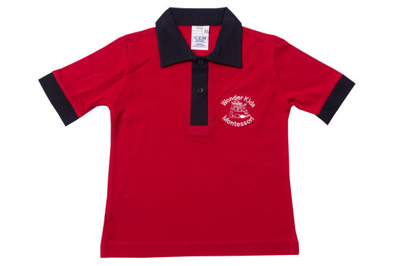 Golf Shirt Red EMB - Wonderkids Montessori