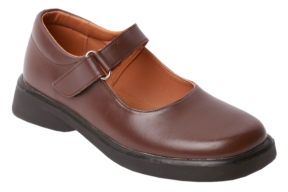Toughees Vivianne Velcro School Shoes - Brown