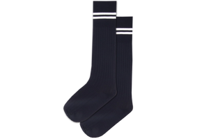 Boys 3/4 Striped Long Socks - Peaceville Navy/White