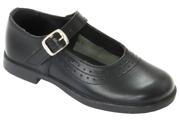 Toughees Kate (Broad Fit) Barover School Shoes - Black