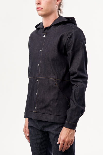 HOODED SHIRT RAW DENIM