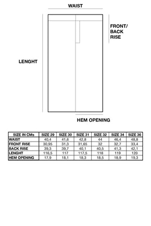 Selvedge Jeans Size Chart