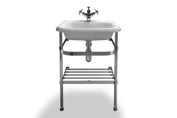 B7EB7ES Clearwater Small Roll Top Basin and Stainless Steel Washstand 55cm x 47cm