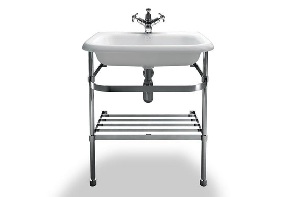 B8EB8ES Clearwater Medium Roll Top Basin and Stainless Steel Washstand 65cm x 47cm