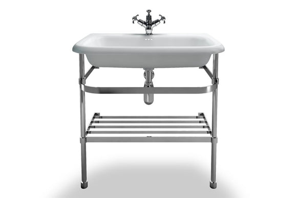 B9EB9ES Clearwater Large Roll Top Basin and Stainless Steel Washstand 75cm x 47cm