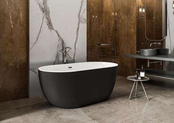 CE11001MB Charlotte Edwards Mayfair 1500 x 780mm Small Freestanding Bath with Matt Black Exterior