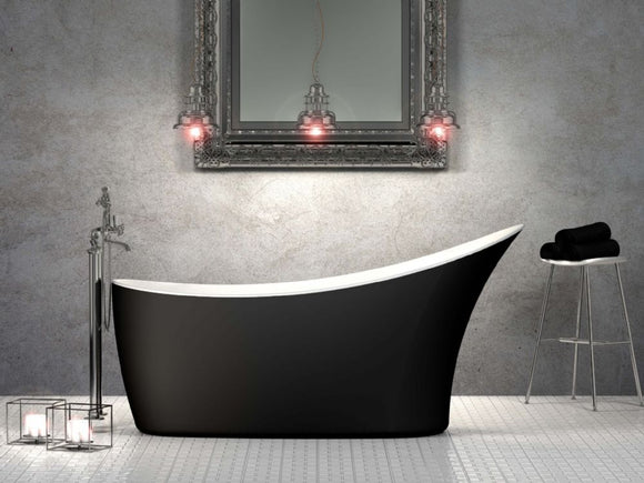 CE11014MB Charlotte Edwards Portobello 1590 x 680mm Slipper Bath with Matt Black