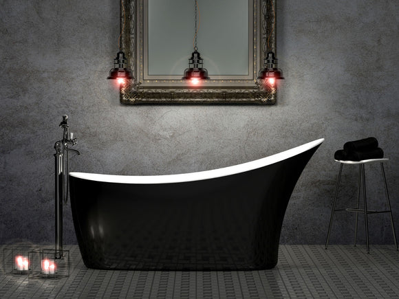 CE11014 Charlotte Edwards Portobello 1590mm Contemporary Slipper Bath with Gloss Black Exterior