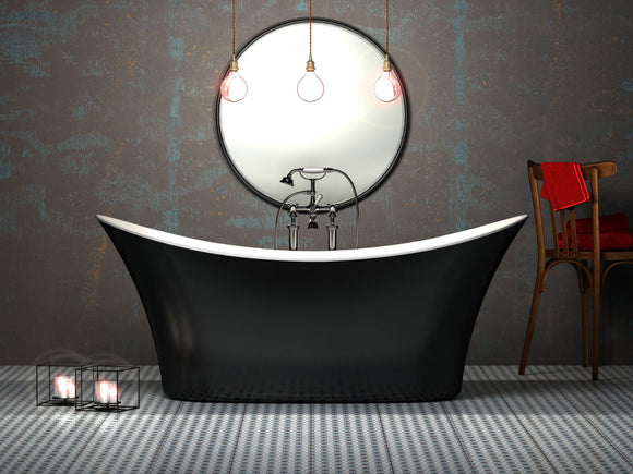CE11017 Charlotte Edwards Hazlemere 1700mm Freestanding Bath Gloss Black Exterior