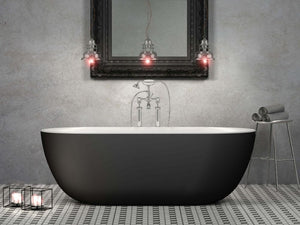 CE11022MB Charlotte Edwards Mayfair Freestanding Bath, 1800mm, Matt Black Exterior