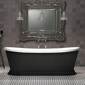 CE11047MB Charlotte Edwards Rosemary Boat Bath with Matt Black Exterior 1700mm x 710mm