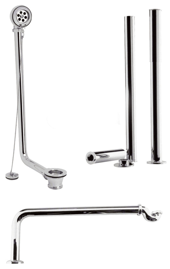 EA368 Exposed Roll Top Bath Chain Waste Kit, Chrome or Nickel