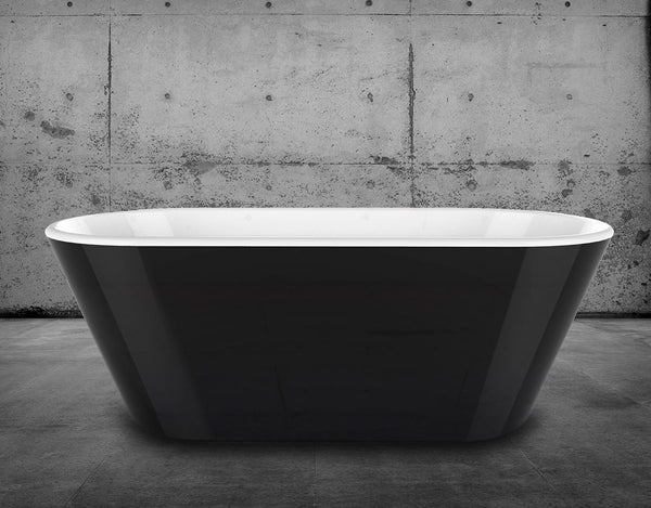 CE11016 Charlotte Edwards Grosvenor 1650mm Freestanding with Bath Gloss Black Exterior