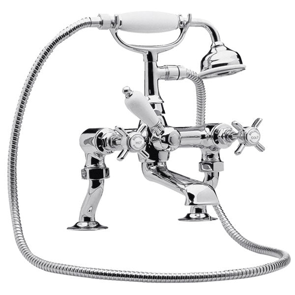 I303X Beaumont Cranked Leg Bath Shower Mixer, Chrome or Nickel