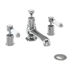 KE12 Kensington 3 Tap Hole Basin Mixer With Pop-Up Waste, Chrome or Nickel