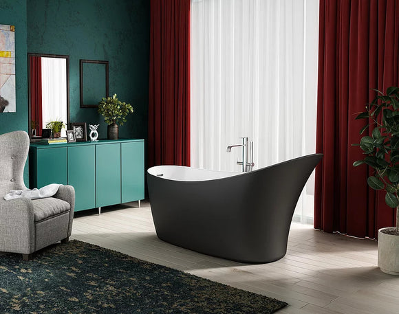 CE11037MB Charlotte Edwards Portobello 1720mm Freestanding Bath Matt Black Exterior