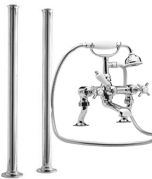 I303XDA311 Beaumont Freestanding Traditional Bath Shower Mixer, Chrome or Nickel