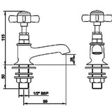 I321XENi Beaumont Basin Taps in Nickel Technicel Drawing