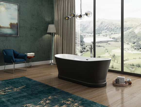CE11054MB Charlotte Edwards Jupiter Contemporary Boat Bath 1700mm x 700mm with Matt Black Exterior