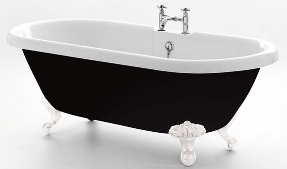 Royce Morgan Kensington Roll Top Freestanding Bath 1755mm with Gloss Black Exterior