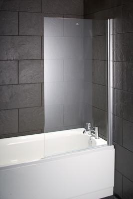 Lotus Single Square Bath Screen 6mm Glass; 800 x 1400mm