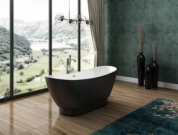 CE11036MB Charlotte Edwards Richmond 1760 x 680mm Freestanding Bath Matt Black Exterior
