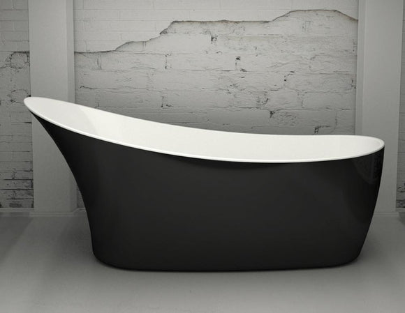 CE11014 Charlotte Edwards Swanley 1590mm Contemporary Slipper Bath with Gloss Black Exterior