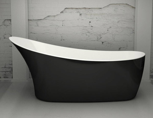 CE11037 Charlotte Edwards Swanley 1720mm Freestanding Bath with Gloss Black Exterior