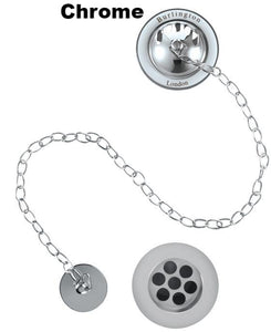 W3 Luxury Bath Plug and Chain Waste Kit, Concealed, Chrome Finish, White Trim