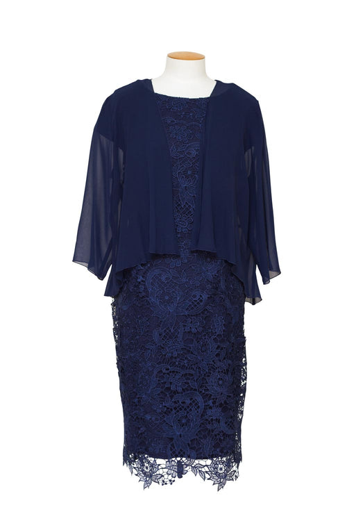 LJ0080 - Guipure Lace Dress and Chiffon Jacket