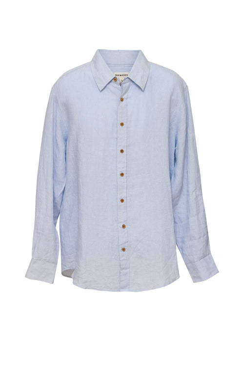 True North - TN160 Mens Oxford Linen Shirt Blue