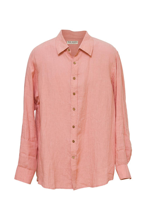 True North - TN160 Mens Oxford Linen Shirt Salmon