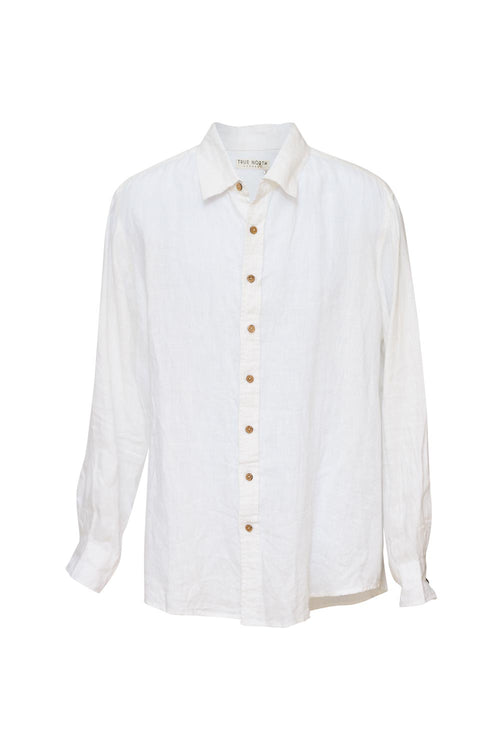 True North - TN160 Mens Oxford Linen Shirt White