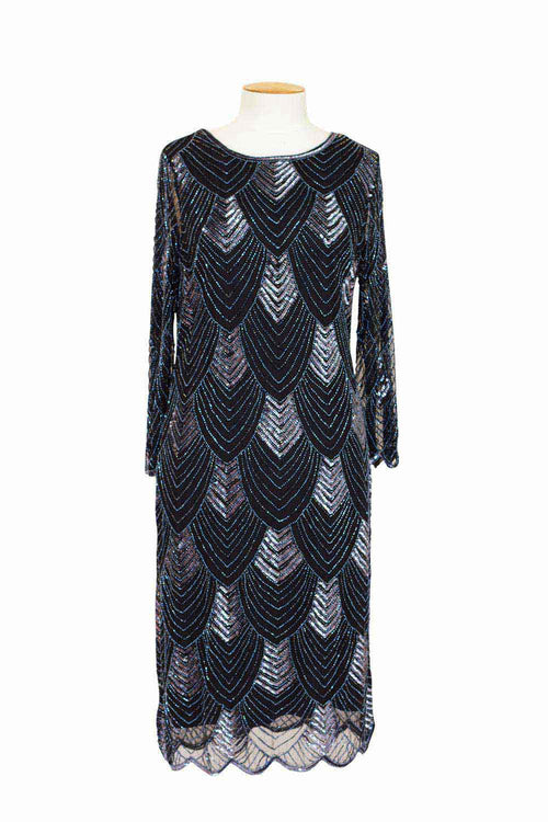 JesseH -JH0131 Short Beaded Dress with 3/4 Sleeve