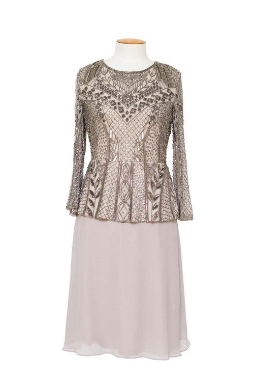 Jesse Harper - JH0126 3/4 Sleeve Beaded Dress