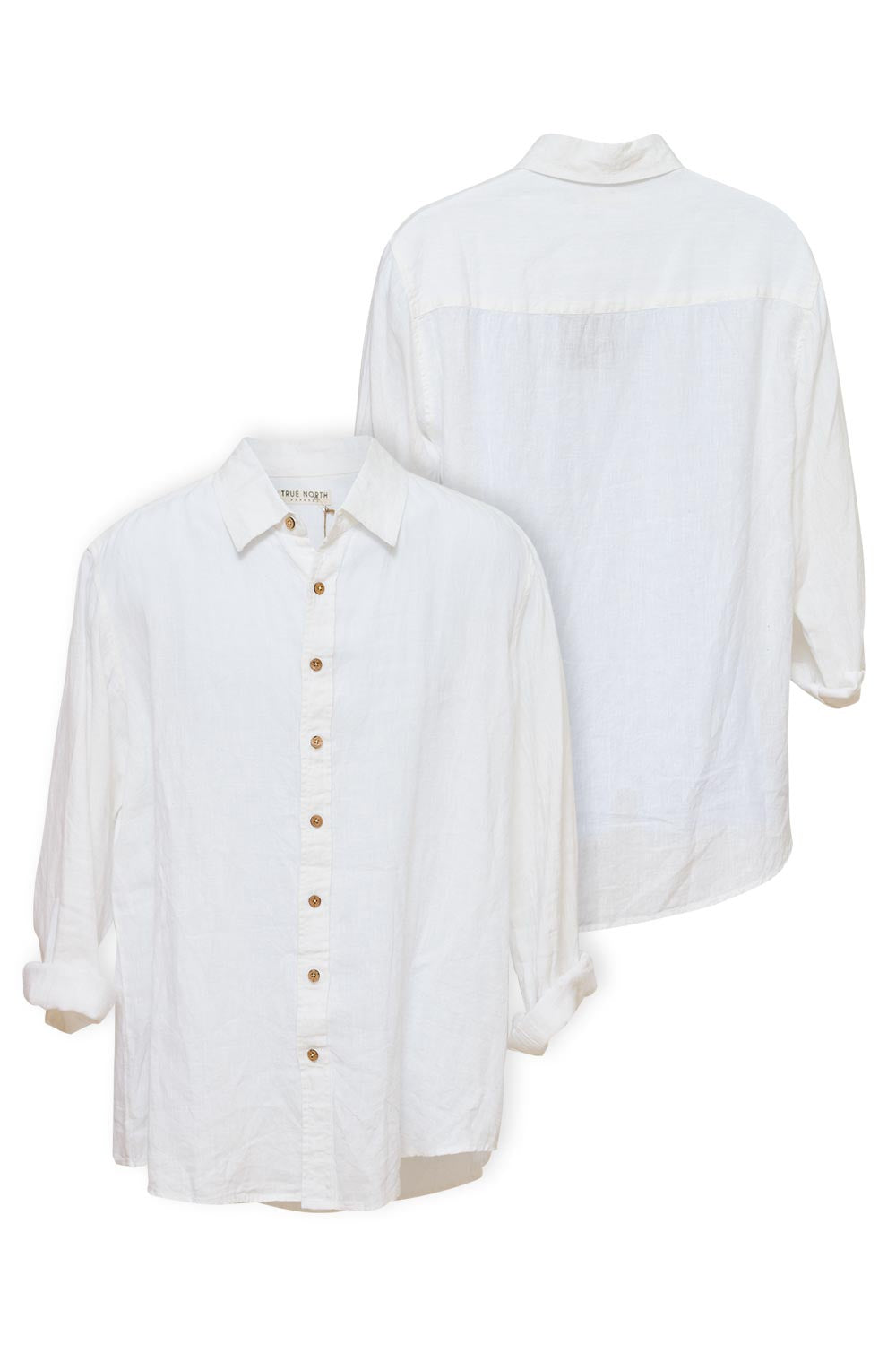 True North - TN160 Mens Oxford Linen Shirt (White)