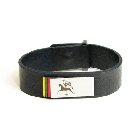 Leather bracelet with stylized Baltic knight