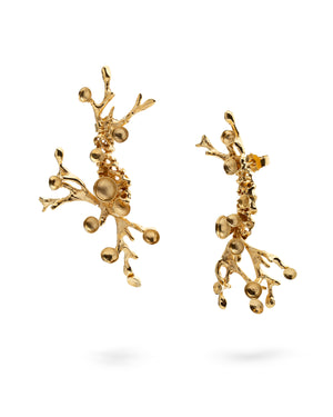 Gold plated Silver Earrings - Coral Diamonds
