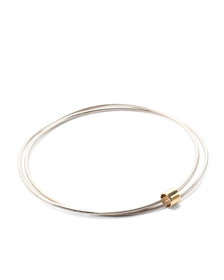 Silver Bracelet with Yellow Gold Insert