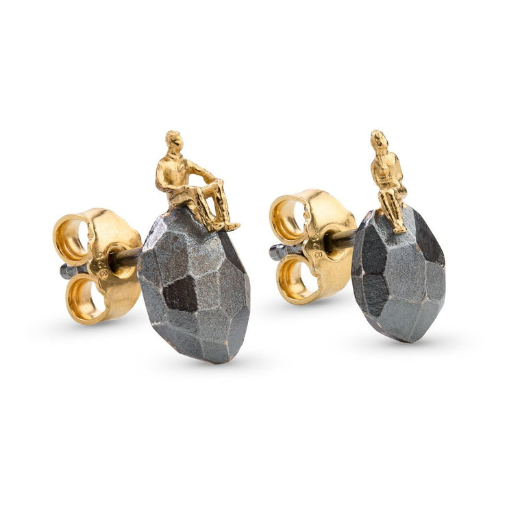 Gold plated, Oxidized Silver Earrings - The Advisers