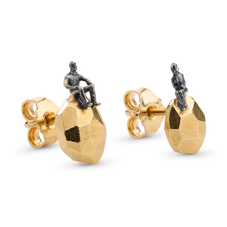 The Gold plated, Oxidized Silver Earrings - The Advisers