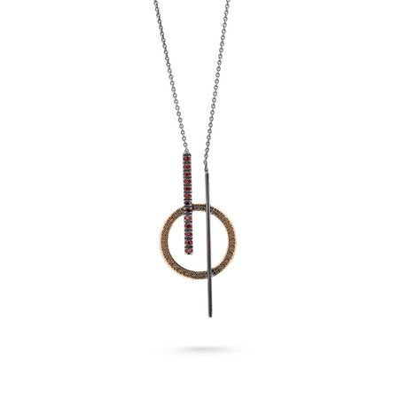The oxidized silver pendant with garnet stones