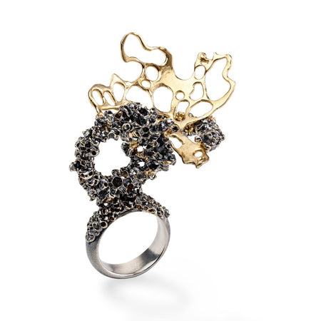 The Gold plated, Oxidized Silver Ring